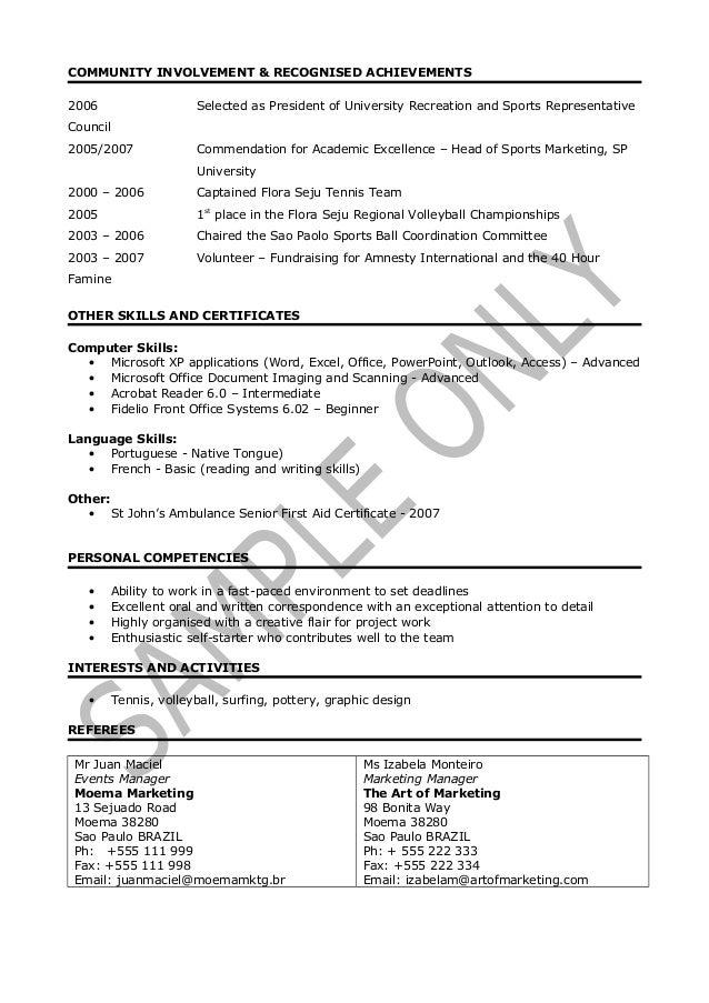 resume with community involvement
