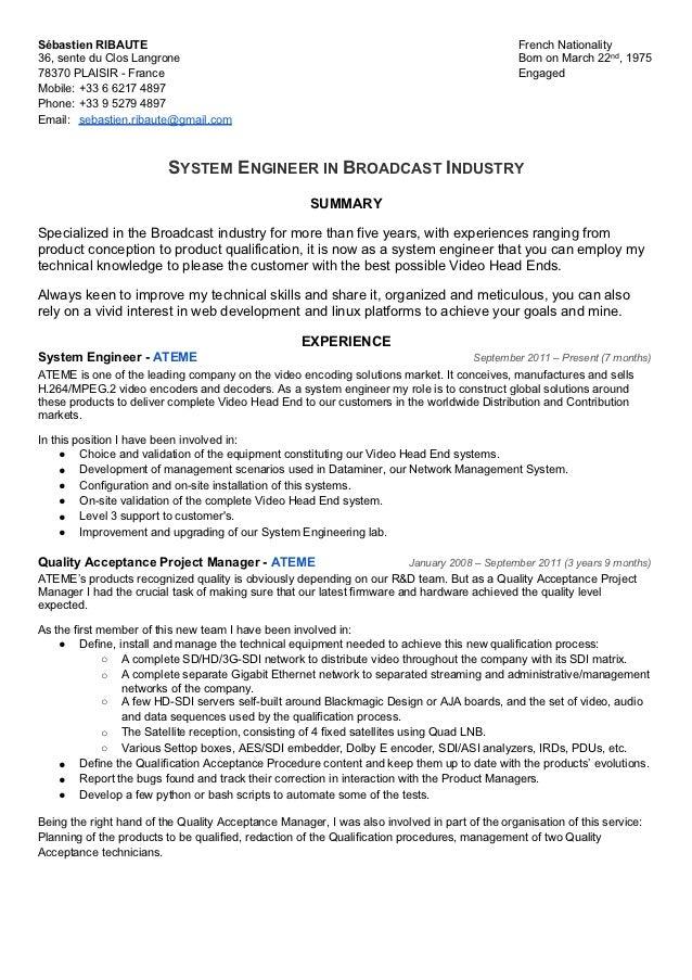 CV Sébastien Ribaute   System Engineer In Broadcast Industry. Sébastien  RIBAUTE ...