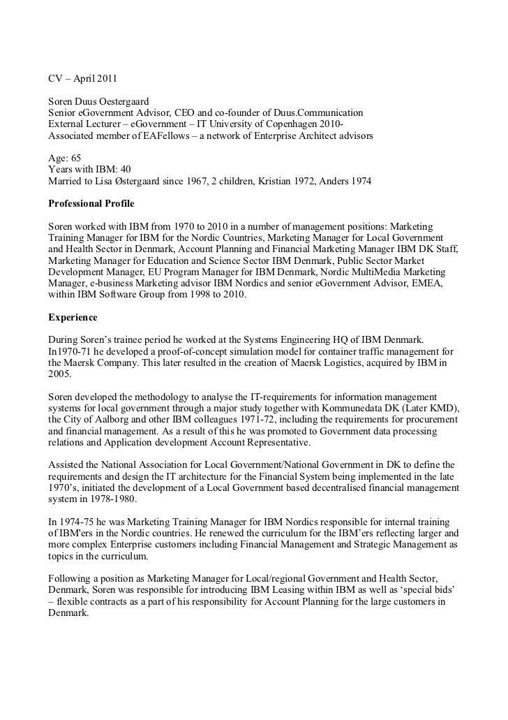 CV – April 2011Soren Duus OestergaardSenior eGovernment Advisor, CEO and co-founder of Duus.CommunicationExternal Lecturer...