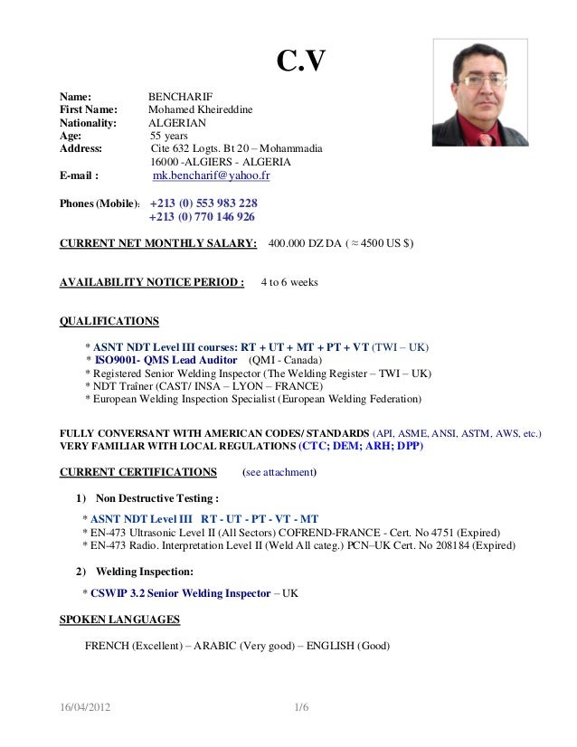 cv senior qc manager mk-bencharif