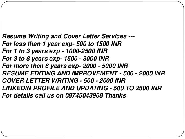 Resume Writing And Cover Letter Services     For Less Than 1 Year Exp