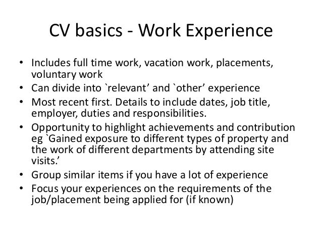 writing a cv for work experience