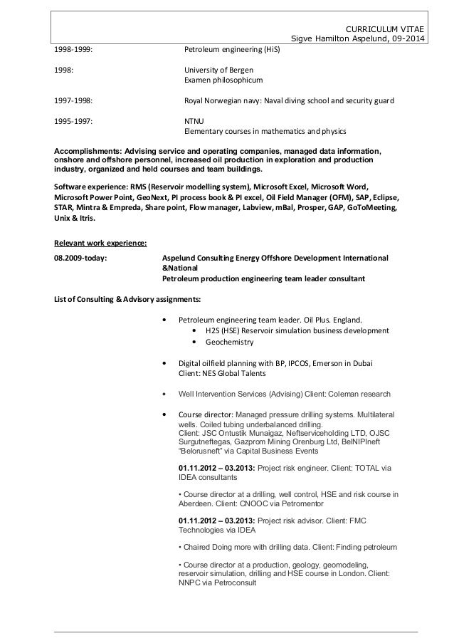 resume for oil and gas industry