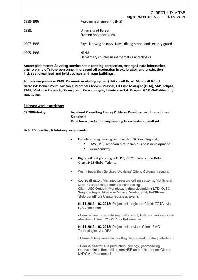 cv sigve hamilton aspelund 092014 production engineer
