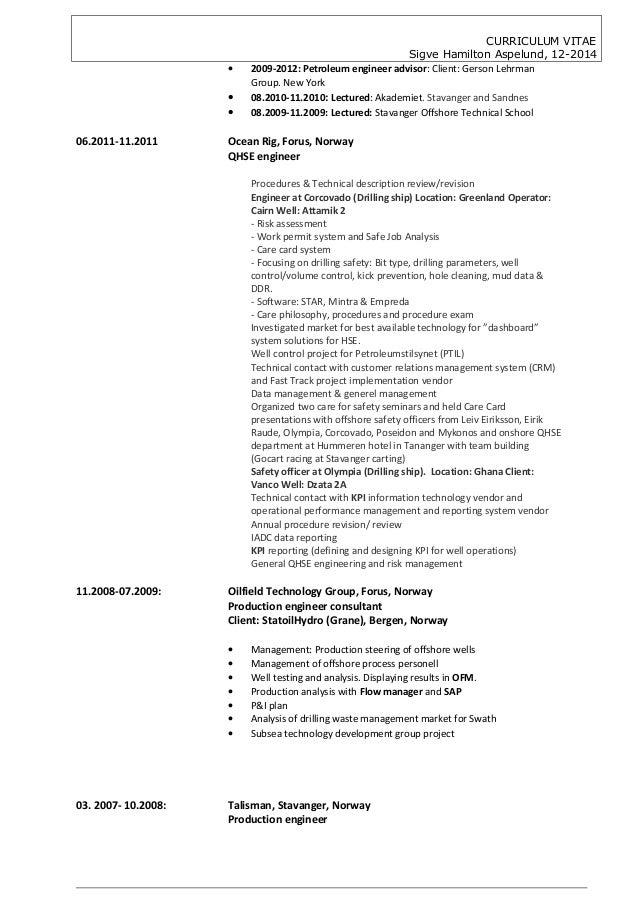 petroleum production engineer description cv sigve