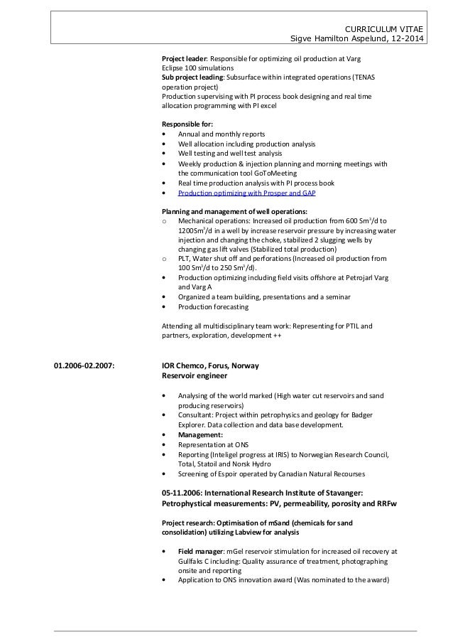 cv sigve hamilton aspelund 122014  petroleum engineering