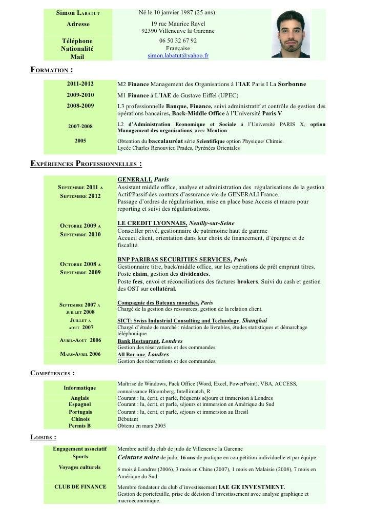 Cv simon labatut word 2002 - Gestionnaire back office banque ...