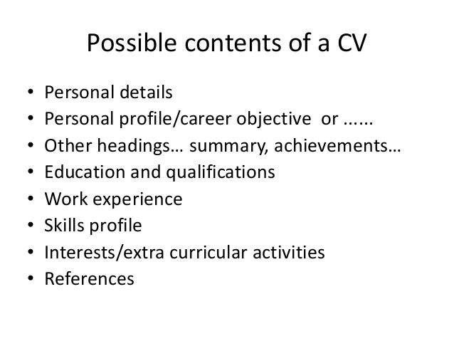 How to do CV / What should be on a CV? Slide 2