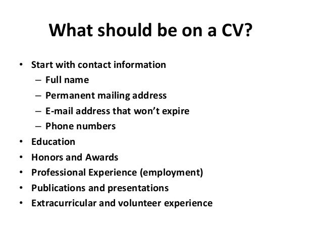 How to do CV / What should be on a CV? Slide 3