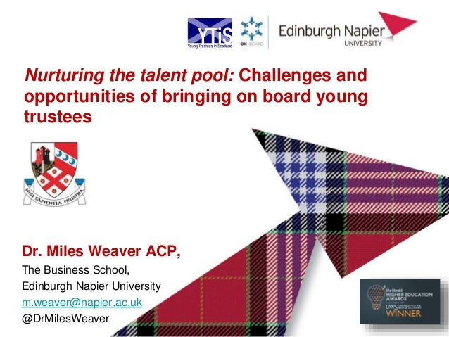 Dr. Miles Weaver ACP, The Business School, Edinburgh Napier University m.weaver@napier.ac.uk @DrMilesWeaver Nurturing the ...