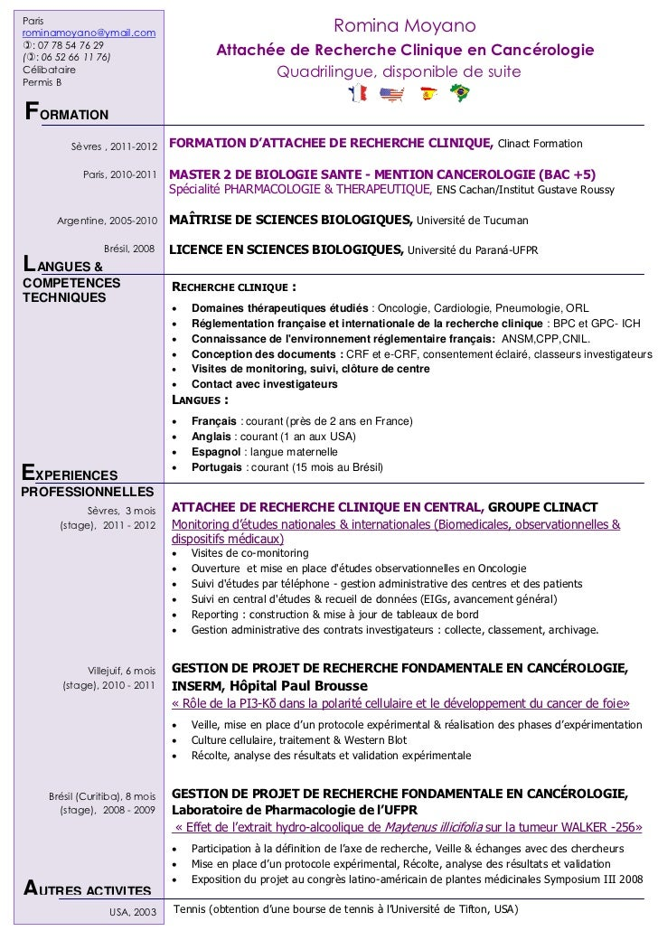 Exemple de CV attache de recherche clinique