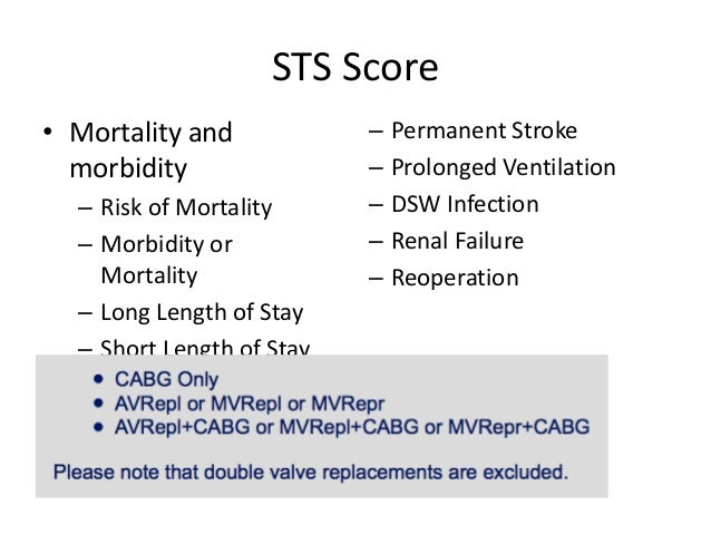 STS Score • Mortality and morbidity – Risk of Mortality – Morbidity or Mortality – Long Length of Stay – Short Length of S...