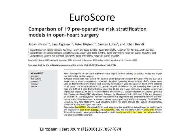EuroScore European Heart Journal (2006) 27, 867–874