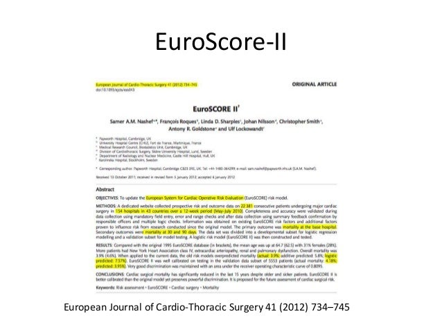 EuroScore-II European Journal of Cardio-Thoracic Surgery 41 (2012) 734–745