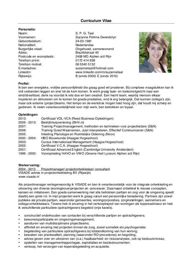 CV Suzanne Taal (en beknopte projectenlijst)