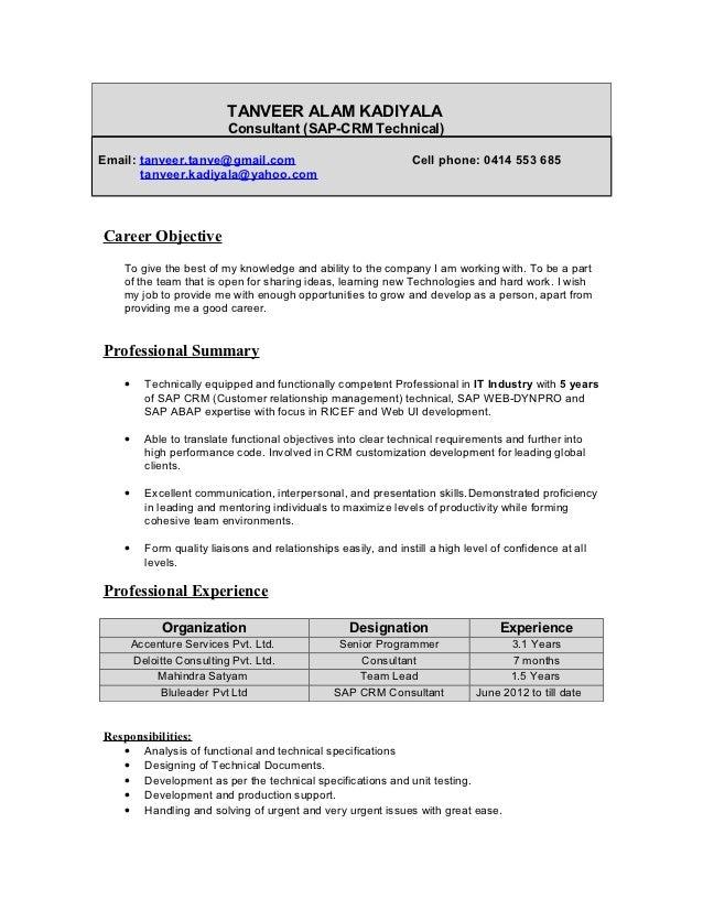 Elegant TANVEER ALAM KADIYALA Consultant (SAP CRM Technical)Email: ... For Sap Abap Resume