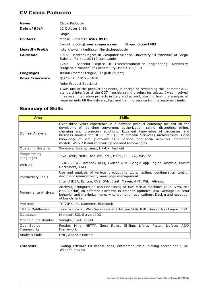 CV Template Per Developer. CV Ciccio PaduccioName Ciccio PaduccioDate Of  Birth ...
