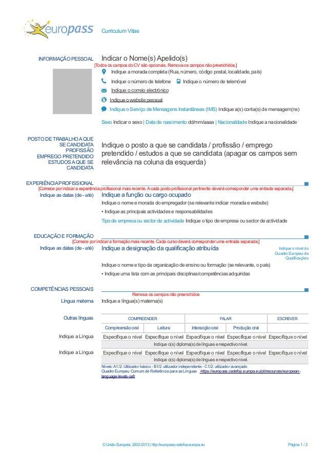 exemplo curriculum vitae europeu preenchido word
