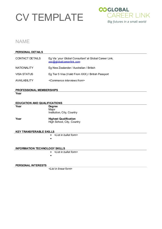 cv template cv templatenamepersonal detailscontact details eg via your global consultant at global career link - Cv Form Format