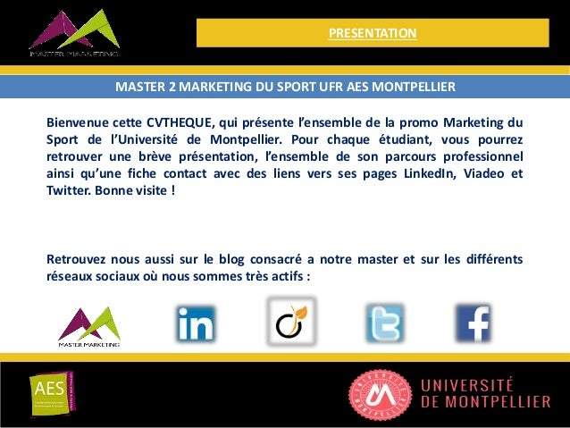 cvtheque master 2 marketing du sport
