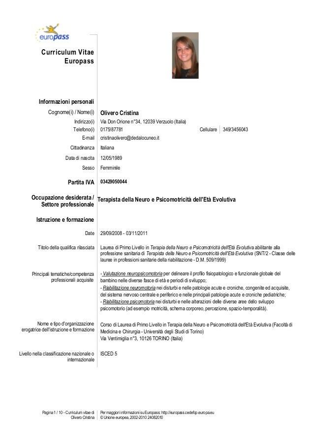 Curriculum Vitae Europeo Esempio Studente Firmakoek