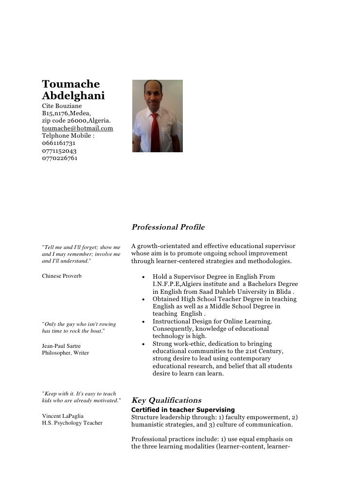 Toumache Abdelghani Cite Bouziane B15,n176,Medea, zip code 26000,Algeria. toumache@hotmail.com Telphone Mobile : 066116173...