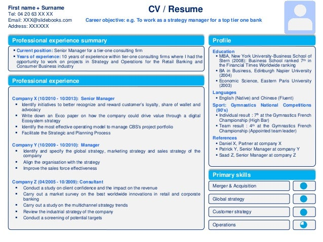 Professional Cv Template & Resume Template In Powerpoint