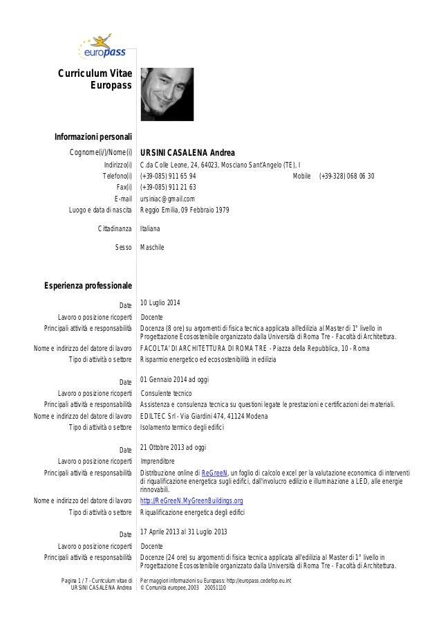 Pagina 1 / 7 - Curriculum vitae di URSINI CASALENA Andrea Per maggiori informazioni su Europass: http://europass.cedefop.e...