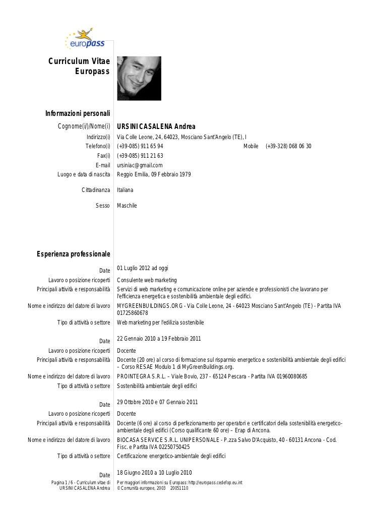 curriculum vitae europeo esempio compilato insegnante scuola primaria