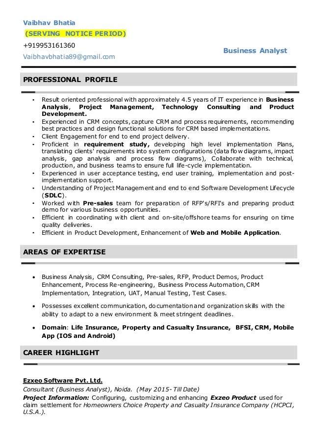 cv vaibhav bhatia business analyst