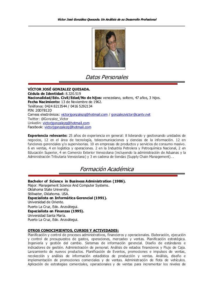 Resúmen Curricular detallado de Víctor J. González Q.