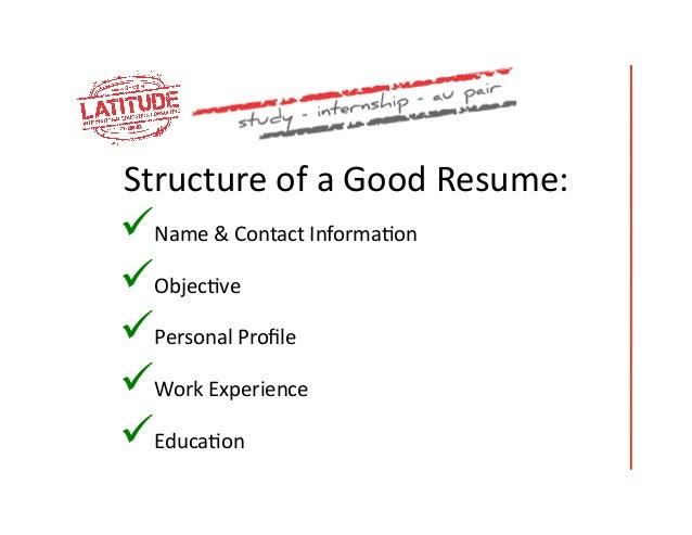 good resume structure - Yelom.myphonecompany.co