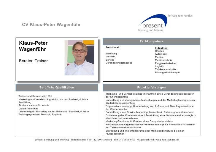 CV Klaus-Peter Wagenführ                                                                                                  ...