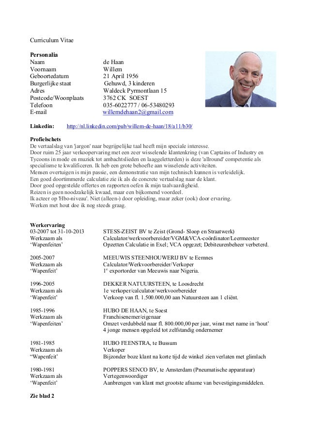 Cv willem de haan 03 2014