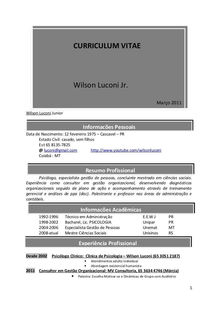 CURRICULUM VITAE                           Wilson Luconi Jr.                                                              ...