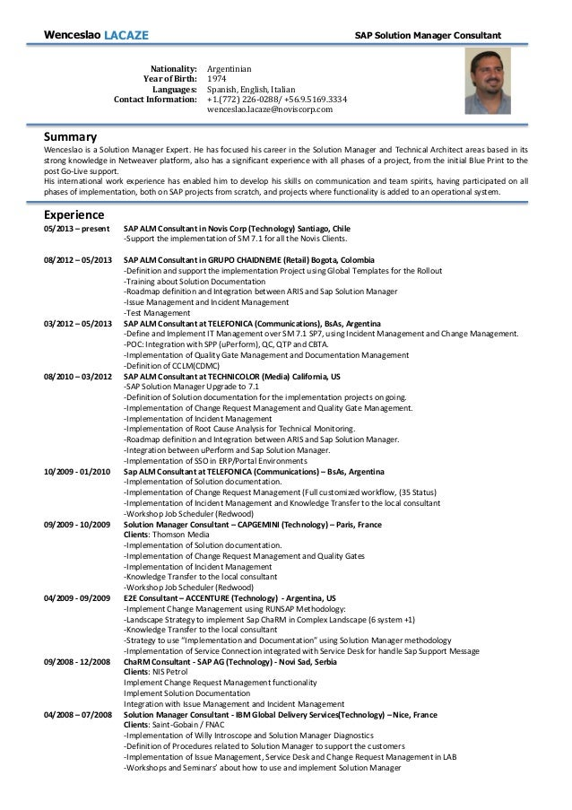 Solution manager resume