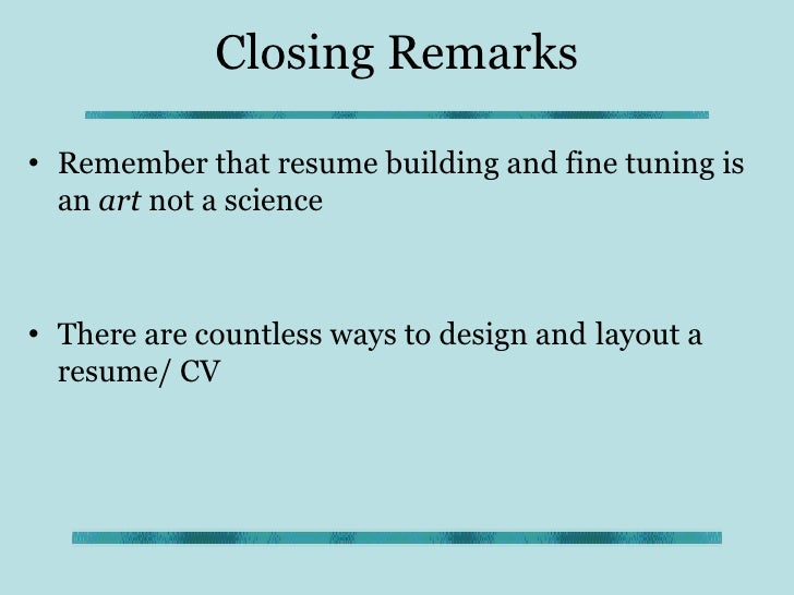 closing statement for resumes