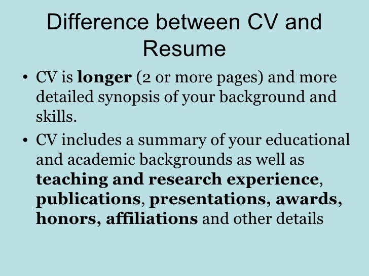 Difference Between CV And Resume ...