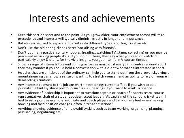 achievements cv