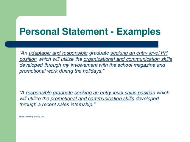 sample personal statement for resumes