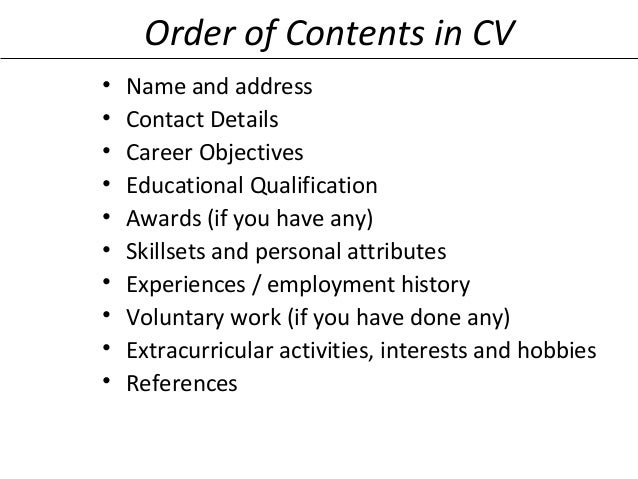 Attributes for resume