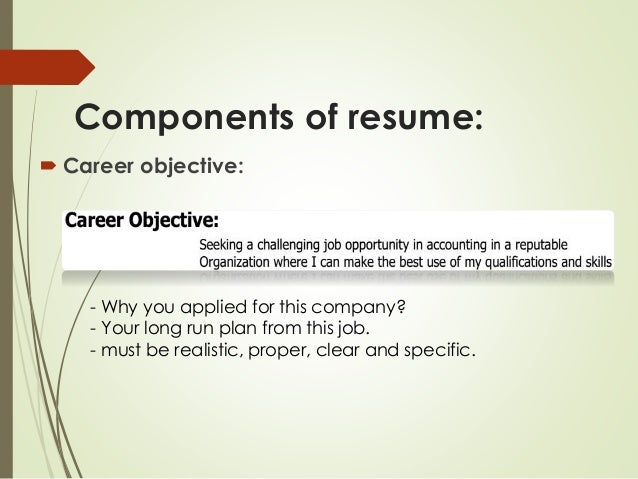 Components Of Resume:  Career Objective: ...