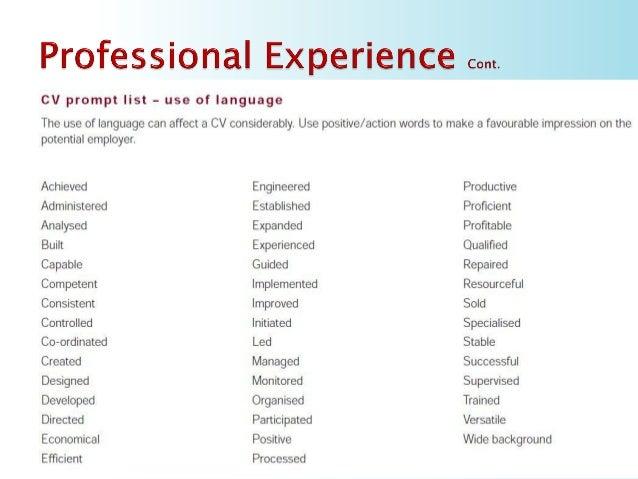 positive resume words