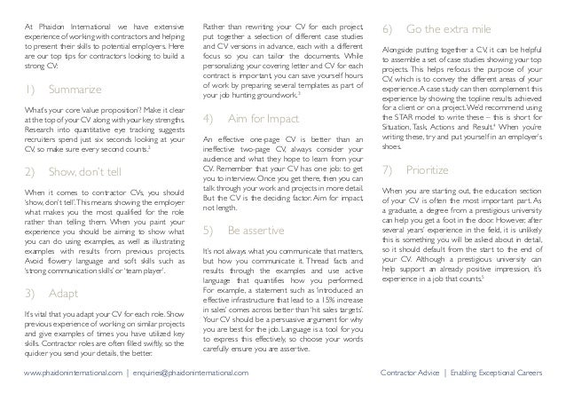 Cv writing tips for contractors 3 at phaidon international solutioingenieria Gallery