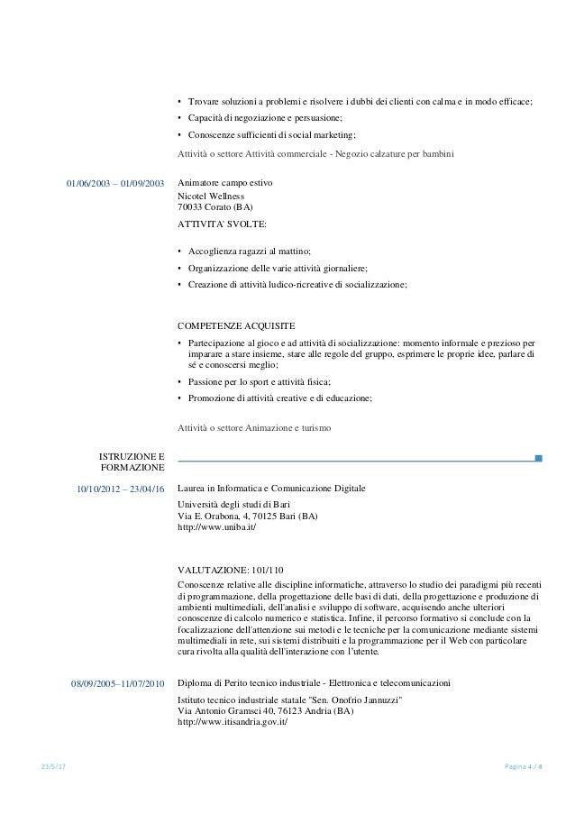 curriculum vitae di un vfp1
