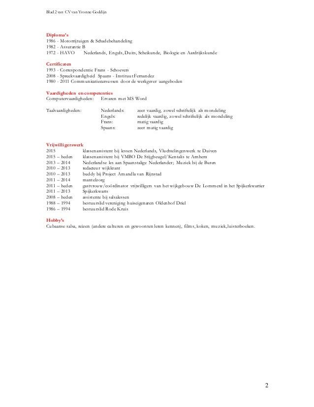 cv apothekersassistente Curriculum Vitae Yvonne Goddijn