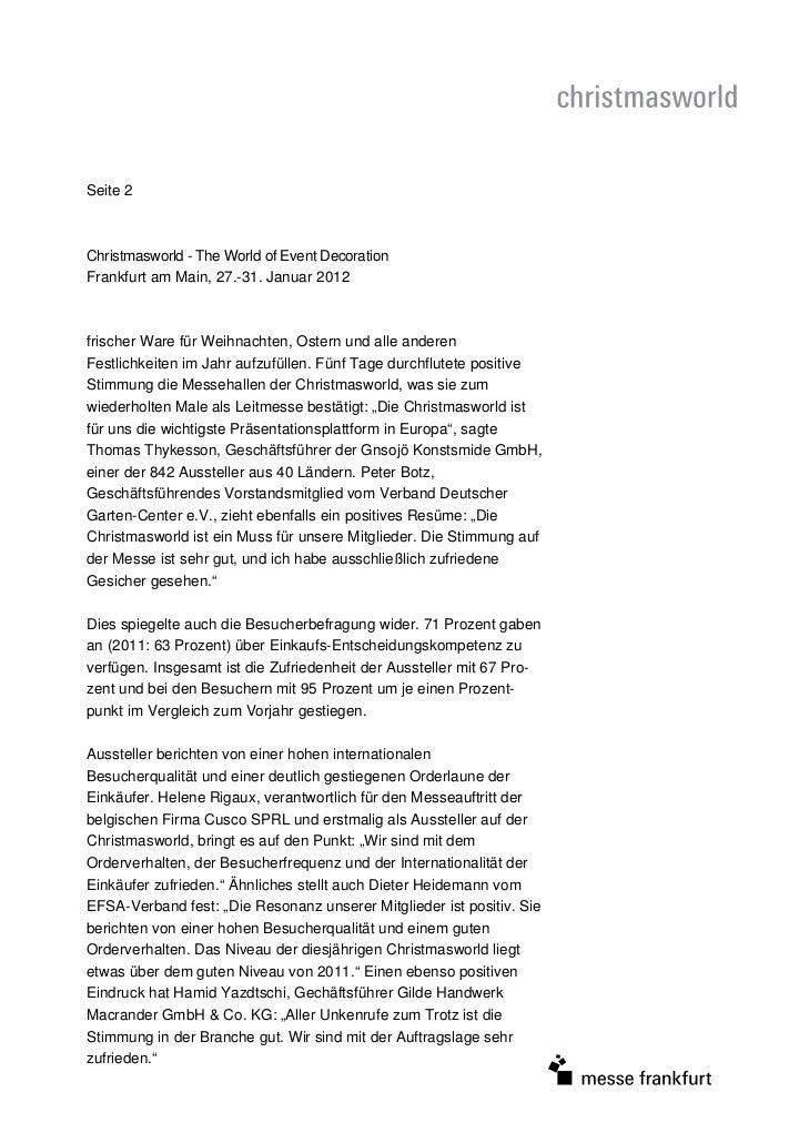 Seite 2Christmasworld - The World of Event DecorationFrankfurt am Main, 27.-31. Januar 2012frischer Ware für Weihnachten, ...