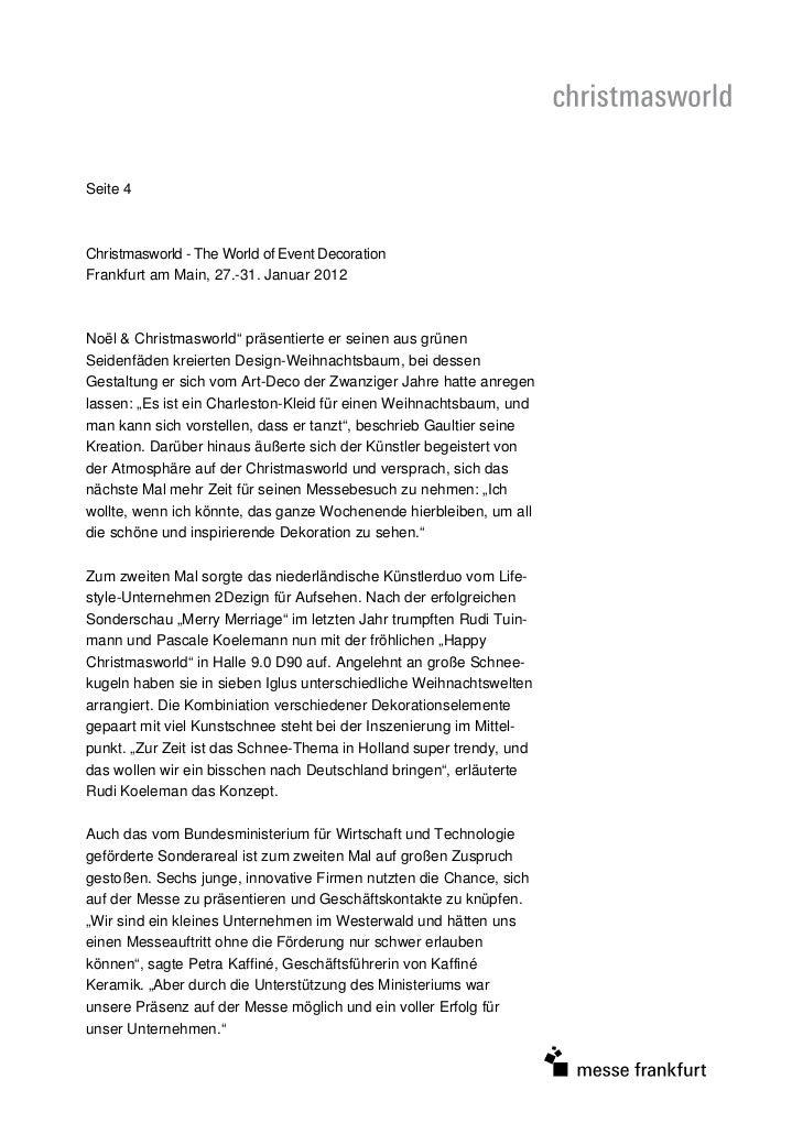 "Seite 4Christmasworld - The World of Event DecorationFrankfurt am Main, 27.-31. Januar 2012Noël & Christmasworld"" präsenti..."