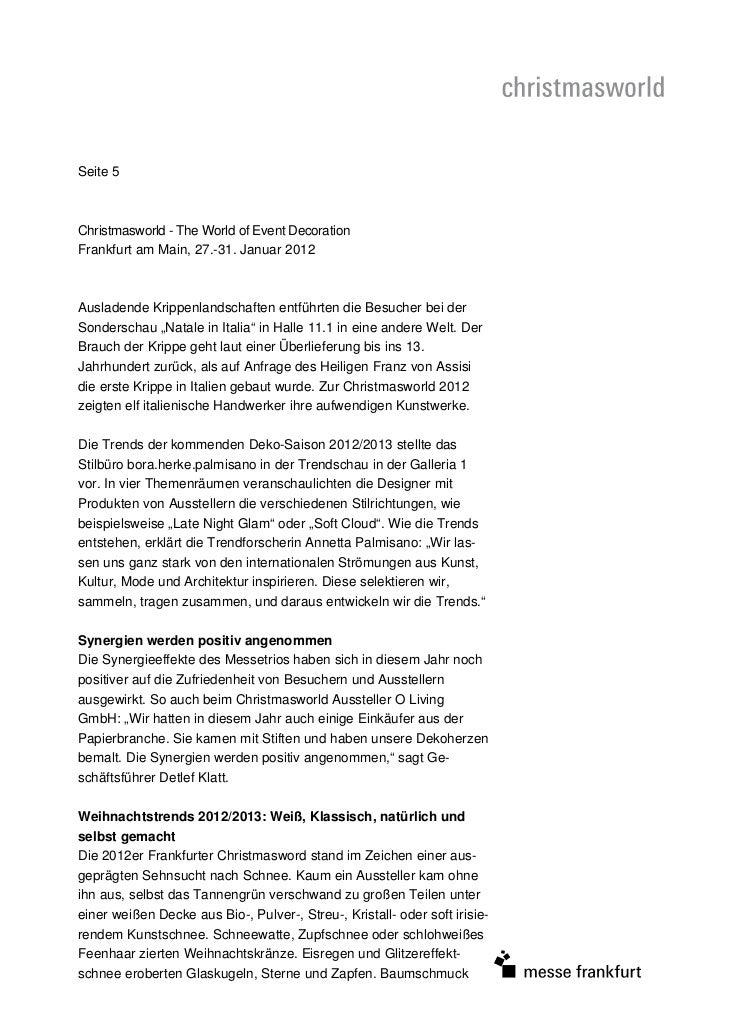 Seite 5Christmasworld - The World of Event DecorationFrankfurt am Main, 27.-31. Januar 2012Ausladende Krippenlandschaften ...
