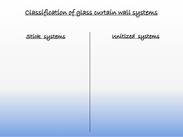 Classification of glass curtain wall systems Unitized systemsStick systems